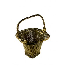 Goldtone Wire Weaved Square Handled Basket