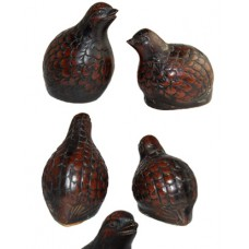 Vintage Set of Two Miniature Bronze Quail