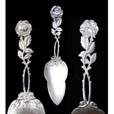 Antique 800 Silver Pierced Figural Rose Pie Server