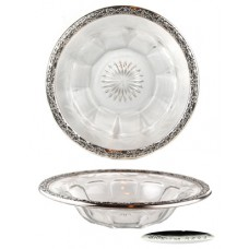 Sterling, Etched & Fluted Glass Frank Whiting Bowl