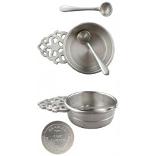 Seagull Pewter Open Salt Cellar with Spoon