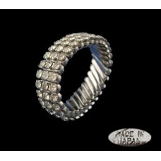 Vintage Expandable Clear Rhinestone Bracelet - Japan