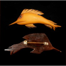 Carved Bakelite Fish Mounted & Carved on Wood Pin