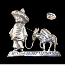 Vintage Mexico Silver Man and Donkey Brooch
