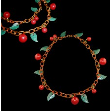 Antique Bakelite Leaf and Cherry Necklace
