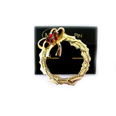 Monet Gold Wreath with Red Holly Pin