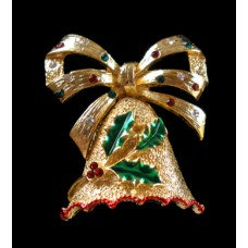 Holiday Bell Pin with Holly leaves and Rhinestones