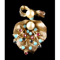 Goldtone Dangle Pin with Pearls and Stones