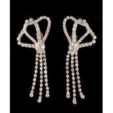 Pair of Large Rhinestone Dangling Earrings