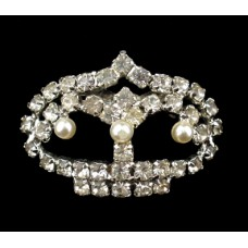 Unsigned Rhinestone and Pearl Crown Pin
