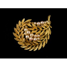 Unsigned Gold Leaf Pin with Pearls