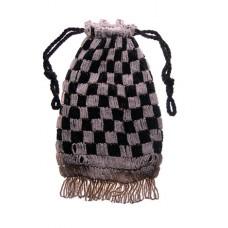 Vintage Art Deco Black & White Glass Beaded Bag