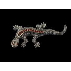 Gecko Lizard Red Rhinestone Silver Tone Pin