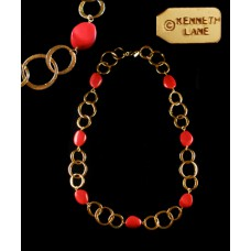 Kenneth Lane Red and Gold Pebble Necklace