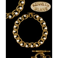 Kenneth J Lane White & Gold Twisted Rope Necklace