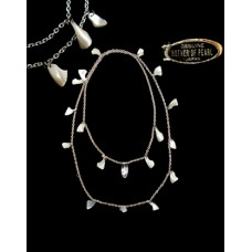 Vintage Mother Of Pearl Silvertone Necklace Japan