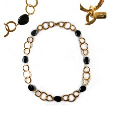 Kenneth Lane Black and Gold Circle Necklace