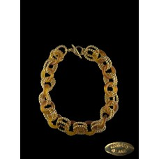 Kenneth Lane Amber and Gold Rope Linked Necklace