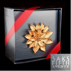 Goldtone Christmas Poinsettia Holiday Pin - Saks