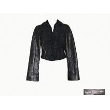 Dana Buchamn Black Leather Jacket w/Lamb Trim