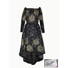 Scassi Boutique Black and Gold Lace Evening Dress
