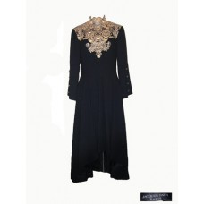 Jacques Fath Vintage Black and Gold Evening Dress
