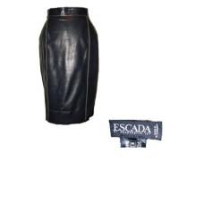 Vintage Escada Black Leather Lined Skirt - Sz. 36