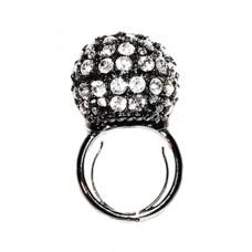 Kenneth Jay Lane Gunmetal Crystal Disco Ball Ring