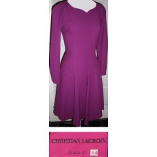 Christian LaCroix Magenta Wool Lined Dress