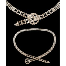 Clear Rhinestone Necklace/Belt with Round Buckle - Unmarked