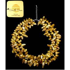 Genuine Gold Freshwater Pearl 3-Strand Necklace