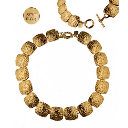 Vintage Anne Klein Goldtone Lion Disk Logo Necklace