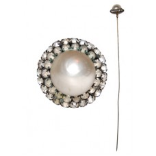 Antique Imitation Pearl and Rhinestone Hat Pin