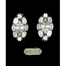 Vintage Weiss Rhinestone Clip-On Earrings