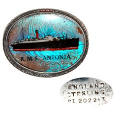 Sterling Cunard Line Enameled RMS Antonia Pin