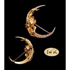 Victorian 14K Moon-Shaped Pearl Pin