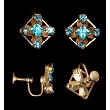 Vintage Aqua Blue Rhinestone Screw Back Earrings