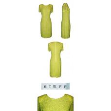 Neil Bieff Silk Lime Green Beaded Dress