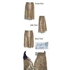 Mary McFadden Couture Gold Lace Skirt