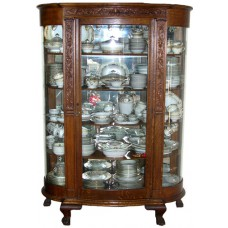 Vintage Oak Footed Curio w/Triple Curved Glass
