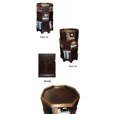Ebony Octogonal Revolving Bookcase