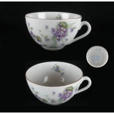 L S & S Flat Purple Floral Cup - Austria