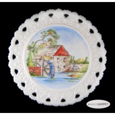 Hand Painted Pierced Milk Glass Old Mill Plate